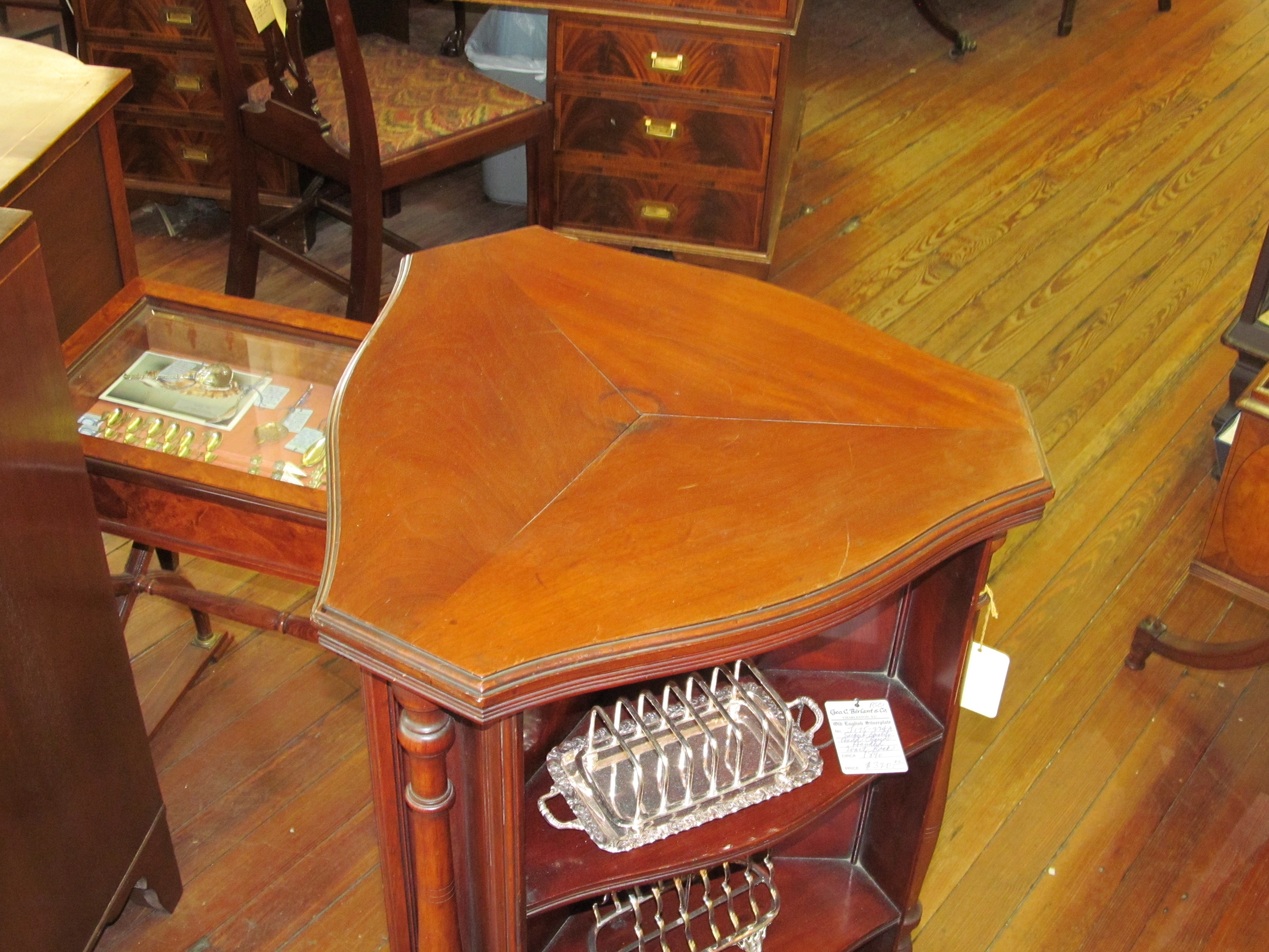 Antique english mahogany sheraton style triangular whatnot for What is sheraton style furniture