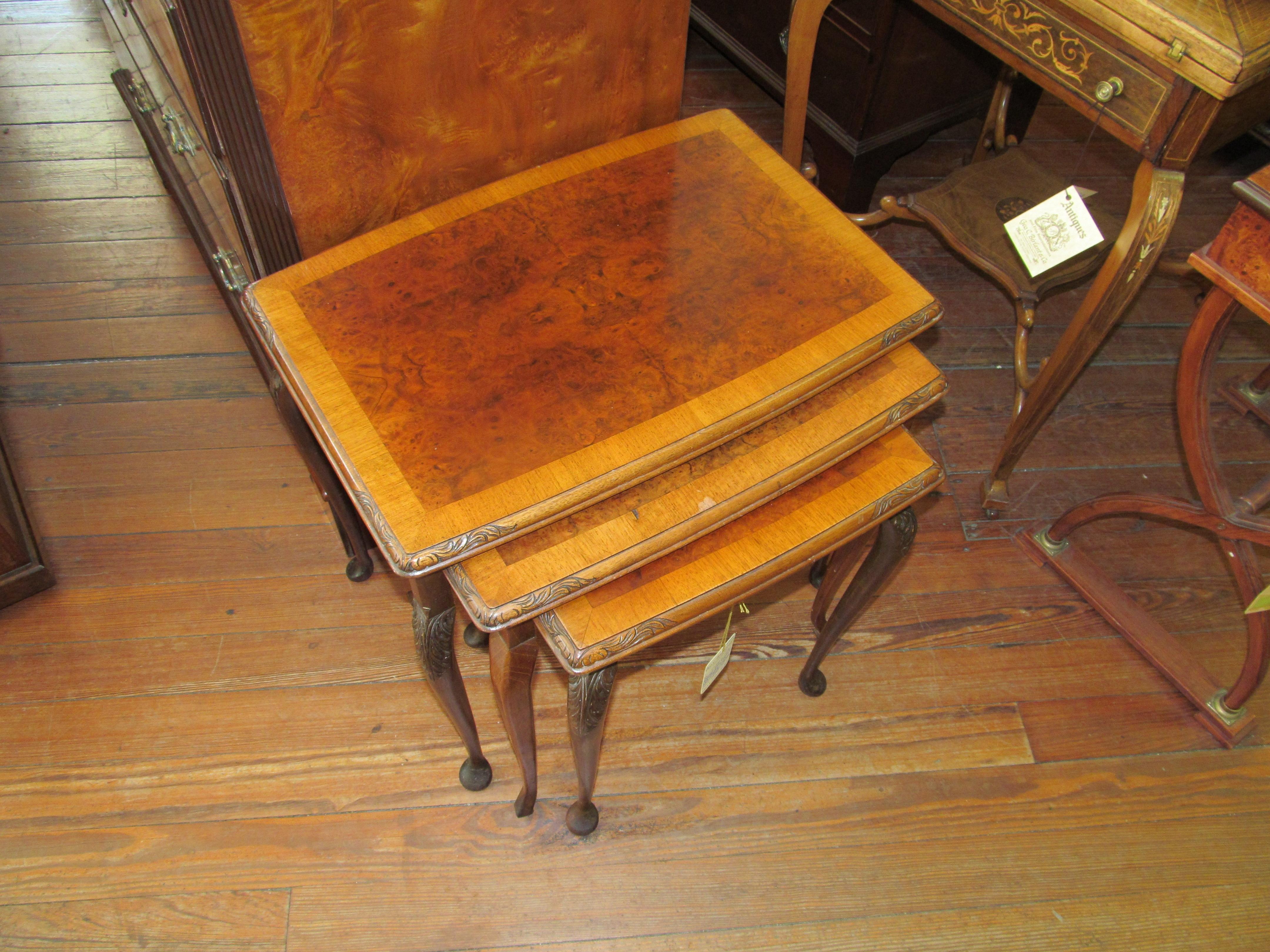 Old English Crossbranded Burr Walnut Nest Of 3 Tables