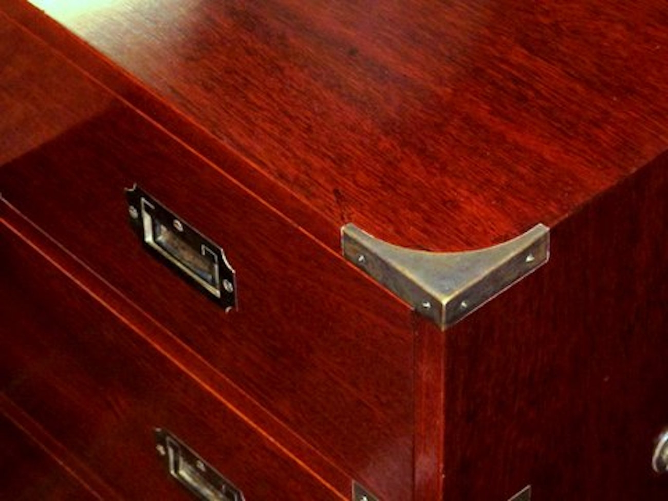 English Bench Made Mahoany Campaign Style Chest