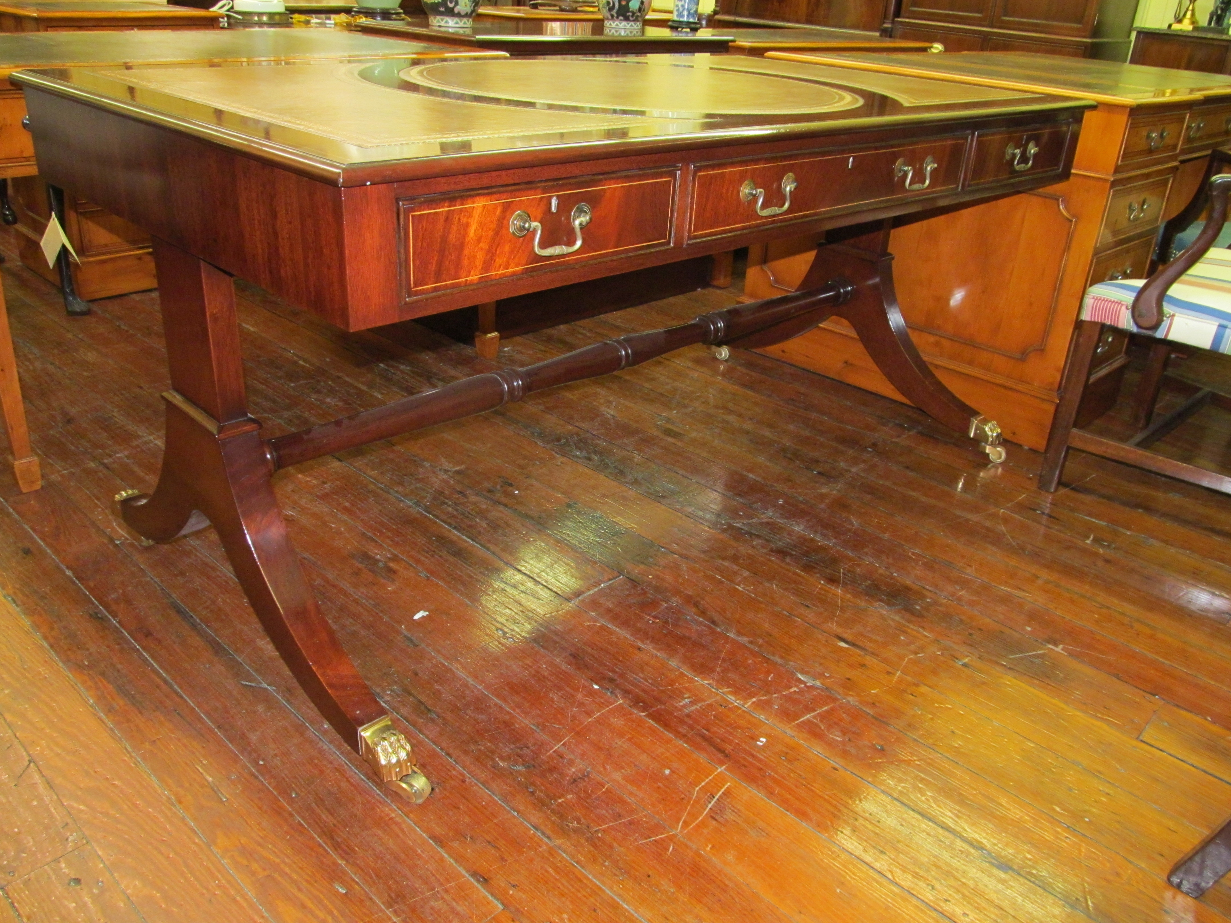 english bench made inlaid figured mahogany regency style partner s bureau plateau. Black Bedroom Furniture Sets. Home Design Ideas