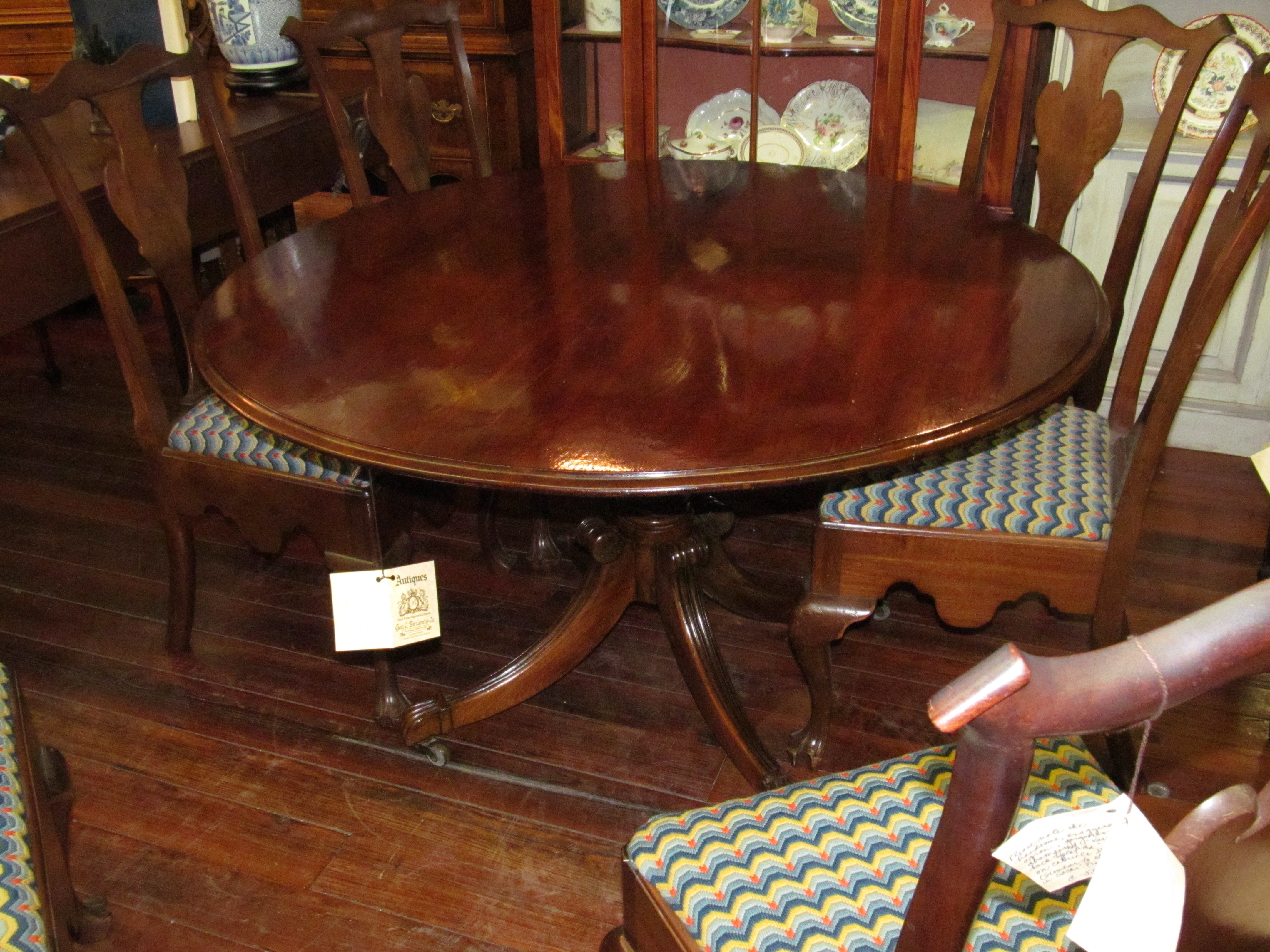 Solid Mahogany Regency Style Round Tilt Top Pedestal Dining Table